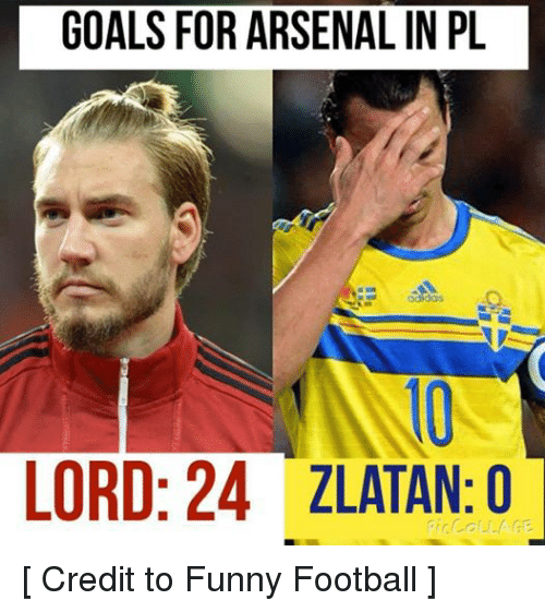 Funny, Goals, and Soccer: GOALS FOR ARSENALIN PL  LORD: 24 ZLATAN: O  COLLAGE. [ Credit to Funny Football ]