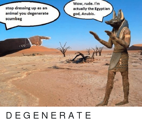 Animals, Anime, and God: stop dressing up as an  animal you degenerate  scumbag  ECO  Wow, rude. I'm  actually the Egyptian  god, Anubis. D E G E N E R A T E