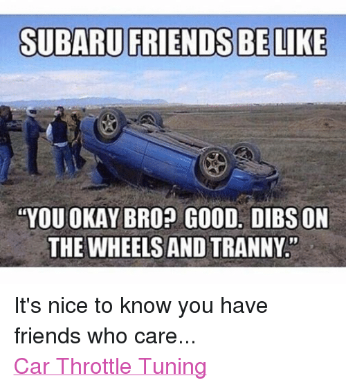 SUBARU FRIENDS BE LIKE YOU OKAY BRO? GOOD DIBS ON THE