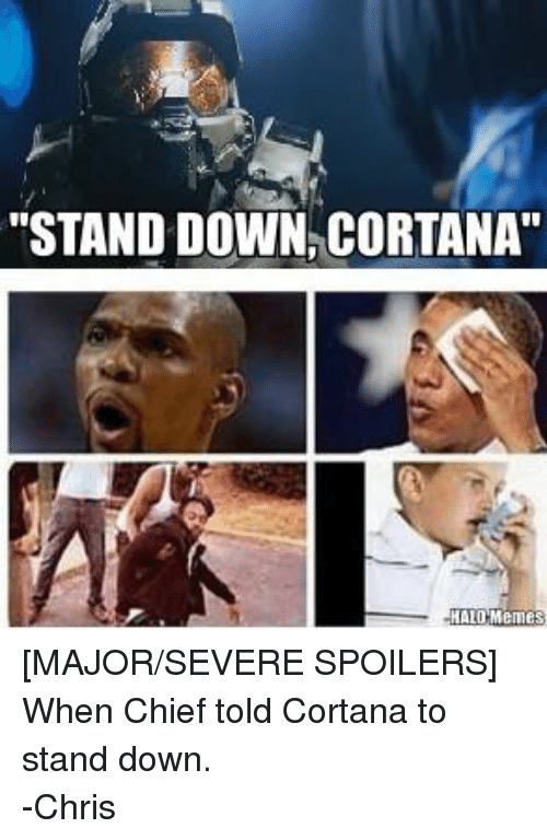 Facebook MAJOR SEVERE SPOILERS When Chief told Cortana 50610d ✅ 25 best memes about cortana halo cortana halo memes,Stand Down Meme