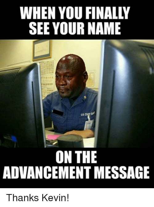 Facebook Thanks Kevin 274a78 see your name on the advancement message thanks kevin! coast,Coast Guard Meme