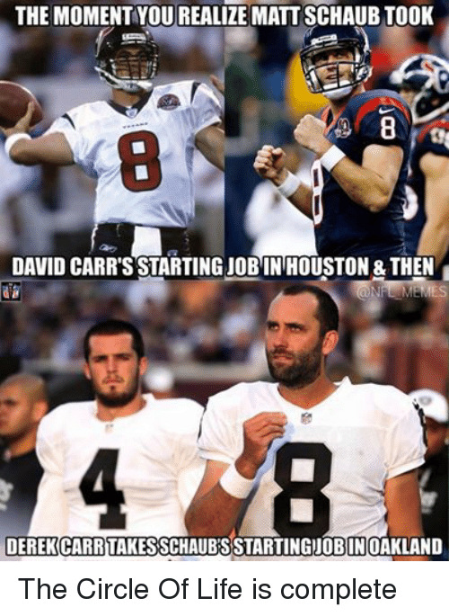 Facebook The Circle Of Life is complete 7d6ad8 ✅ 25 best memes about david carr david carr memes,Derek Carr Memes
