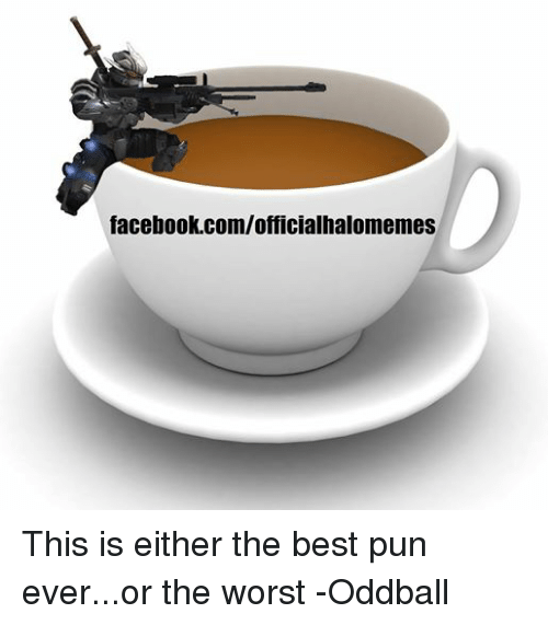 Facebook, Halo, and Puns: facebook.com/officialhalomemes This is either the best pun ever...or the worst -Oddball