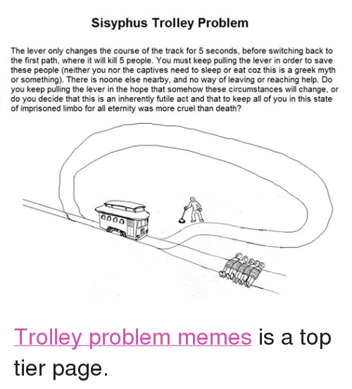 Sisyphus Trolley Problem The Lever Only Changes The Course Of The