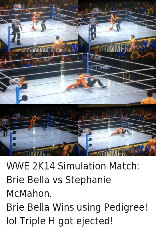 Lol, Wrestling, and World Wrestling Entertainment: atiMMER WA WWE 2K14 Simulation Match: Brie Bella vs Stephanie McMahon. Brie Bella Wins using Pedigree! lol Triple H got ejected!