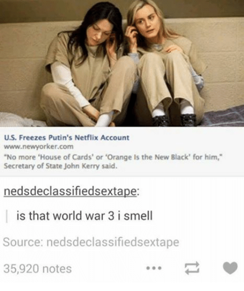 "Netflix, Smell, and Black: U.S. Freezes Putin's Netflix Account  www.newyorker.com  ""No more 'House of Cards' or 'Orange ls the New Black' for him,""  Secretary of State John Kerry said.  nedsdeclassifiedsextape:  is that world war 3 i smell  Source: nedsdeclassifiedsextape  35,920 notes"