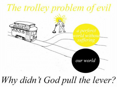 World, Persimmon, and Trolley: The trolley problem of evil  a perferct  world without  suffering  our world  Why didn't Goa pull the lever?