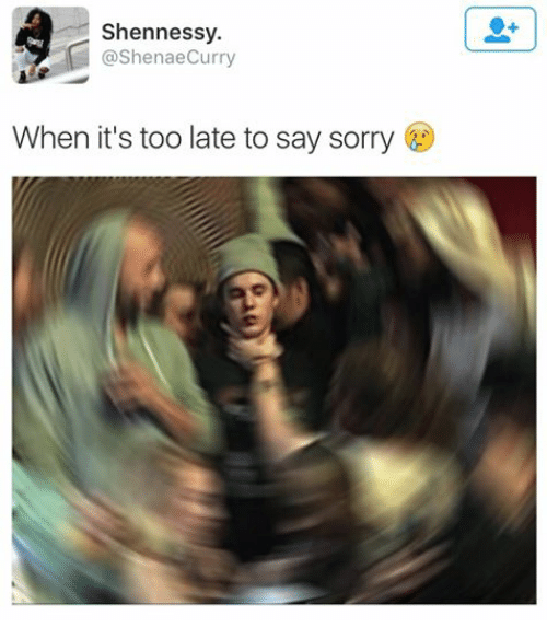 Sorry, Dank Memes, and Saying: Shennessy.  ashenaeCurry  When it's too late to say sorry