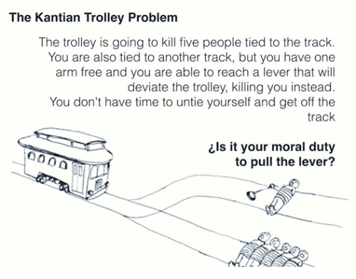Free, Time, and Dank Memes: The Kantian Trolley Problem  The trolley is going to kill five people tied to the track.  You are also tied to another track, but you have one  arm free and you are able to reach a lever that will  deviate the trolley, killing you instead.  You don't have time to untie yourself and get off the  track  ils it your moral duty  to pull the lever?