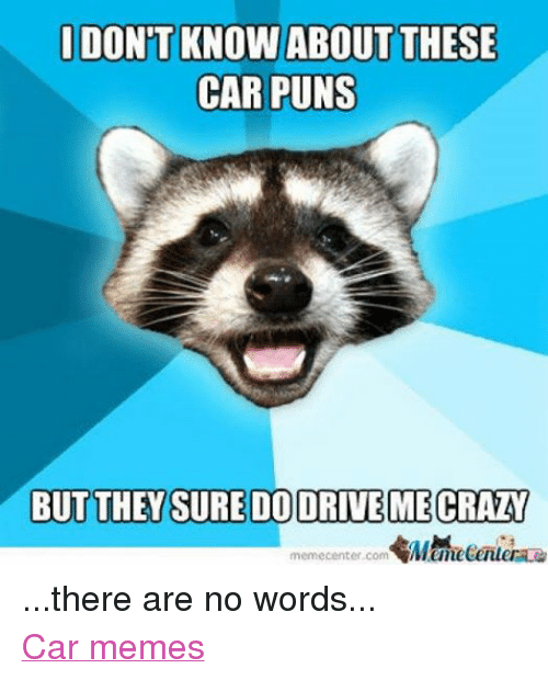 I DONT KNOW ABOUT THESE CAR PUNS BUT THEYSUREDODRIVEMECRAZY
