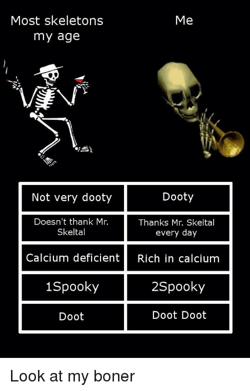 Spooky, Doot, and Spook: Most skeletons  Me  my age  Not very dooty  Dooty  Doesn't thank Mr.  Thanks Mr. Skeltal  every day  Skelta  Calcium deficient  Rich in calcium  2 Spooky  Spook  Doot Doot  Doot Look at my boner