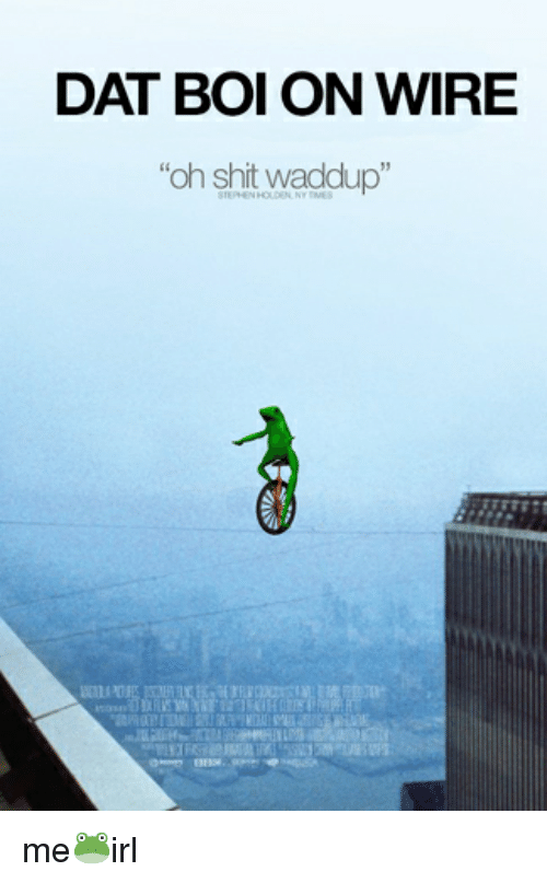 DAT BOI ON WIRE Oh Shit Waddup Me🐸irl   Shit Meme on me.me