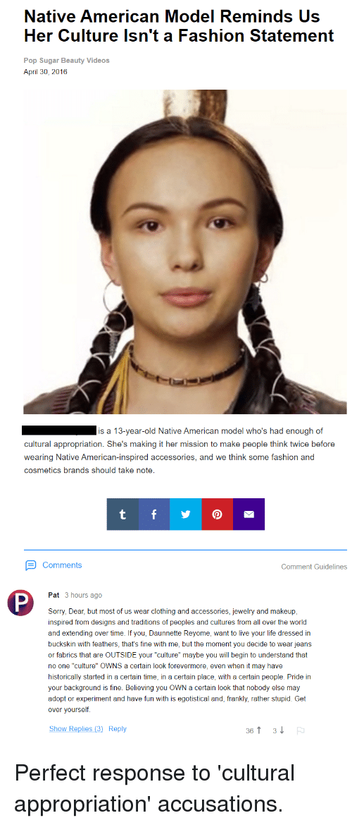 Native American Model Reminds Us Her Culture Isn't a Fashion