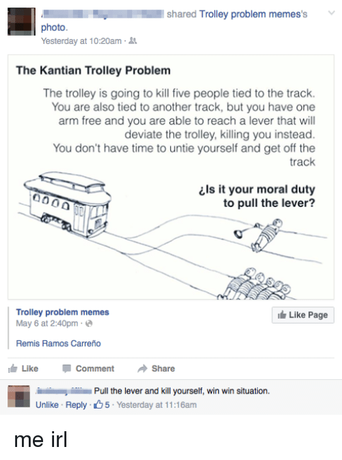 L Shared Trolley Problem Memes S Photo Yesterday At 1020am The