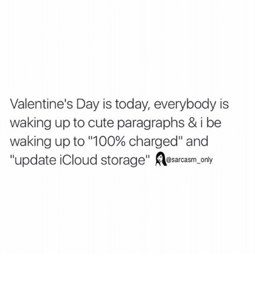 """Cute, Funny, and Memes: Valentine's Day is today, everybody is  waking up to cute paragraphs & i be  waking up to """"100% charged"""" and  update Cloud storage  sarcasm only ⠀"""