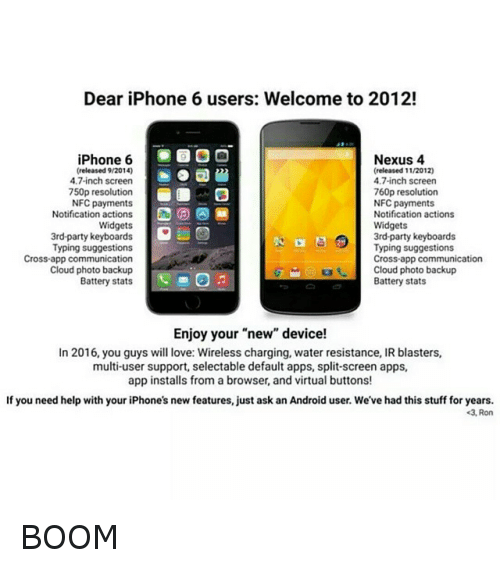 Dear iPhone 6 Users Welcome to 2012! Nexus 4 iPhone 6
