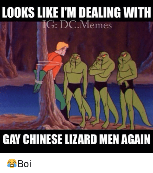 Meme, Memes, and Chinese: LOOKS LIKE I'M DEALING WITH  G: DC.Memes  GAY CHINESE LIZARD MEN AGAIN 😂Boi