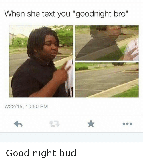 When She Text You Goodnight Bro 72215 1050 PM Good Night Bud   Funny