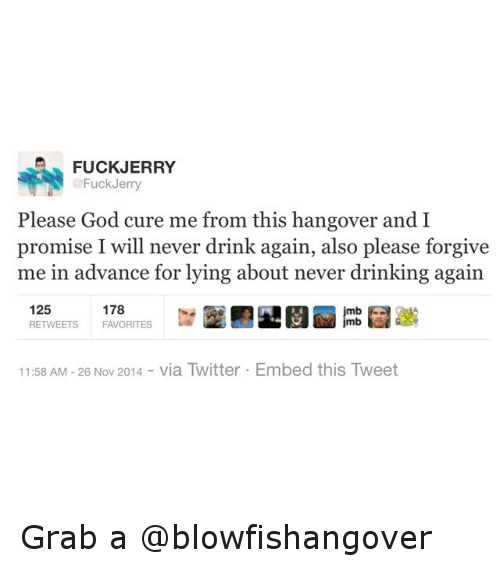 Drinking, Funny, and God: FUCKJERRY  Fuck Jerry  Please God cure me from this hangover and I  promise I will never drink again, also please forgive  me in advance for lying about never drinking again  125  178  mb  mb  RETWEETS  FAVORITES  11:58 AM 26 Nov 2014  via Twitter Embed this Tweet Grab a @blowfishangover