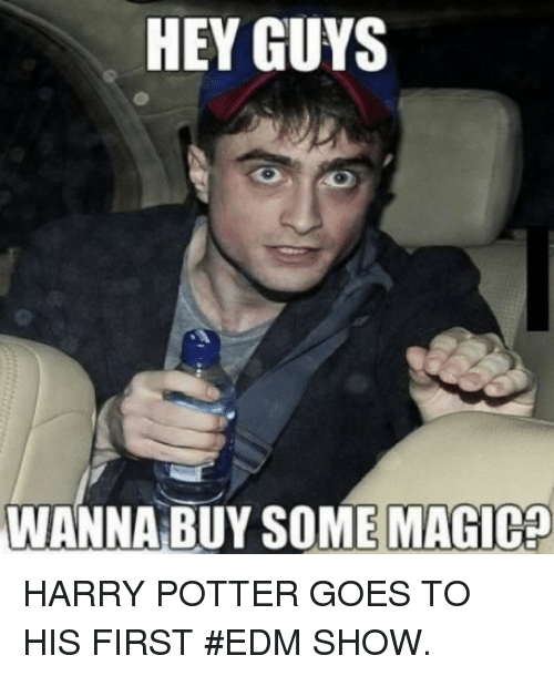 Harry Potter, Music, and Edm: HEY GUYS  WANNA BUY SOME MAGIca HARRY POTTER GOES TO HIS FIRST EDM SHOW.