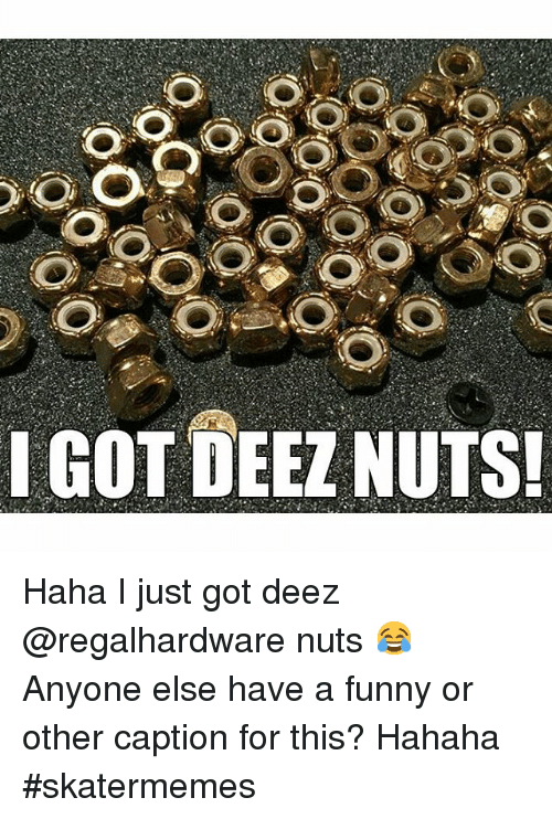Deez Nuts, Funny, and Skate: I GOT DEEZ NUTS! Haha I just got deez @regalhardware nuts 😂-Anyone else have a funny or other caption for this? Hahaha-skatermemes