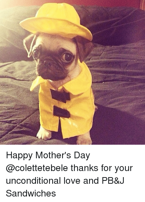 Funny, Love, and Mother's Day: Happy Mother's Day @colettetebele thanks for your unconditional love and PB&J Sandwiches