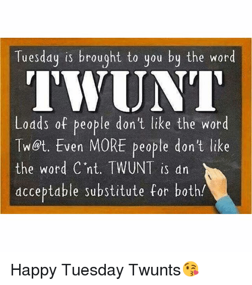 Funny Happy And Word Tuesday Is Brought To You By The Word Twunt