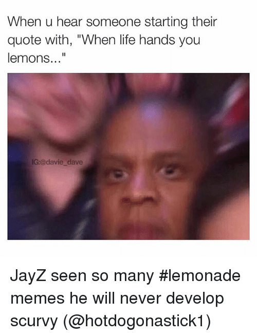 Instagram JayZ seen so many lemonade memes f81a1d when u hear someone starting their quote with when life hands you