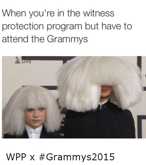 Funny, Grammys, and Grammy: When you're in the witness  protection program but have to  attend the Grammys WPP x Grammys2015