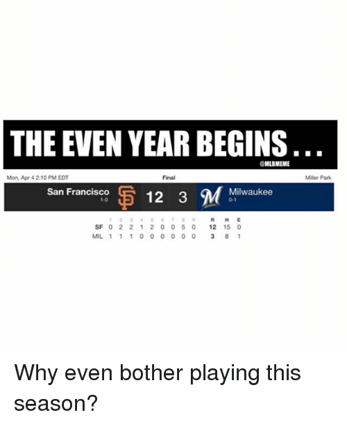Mlb, Milwaukee, and San Francisco: THE EVEN YEARBEGINS  @MLBIMEME  Mon, Apr 4 2:10 PM EDT  San Francisco  U5 12 3 M  1-0  Milwaukee  0-1  SF 0 2 2 1 2 0 0 5 0  12 15 0  MIL 1 1 1 0 0 0 0 0 0 8 1  Miller Park. Why even bother playing this season?