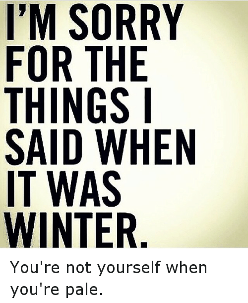 Funny, Sorry, and Winter: I'M SORRY  FOR THE  THINGS I  SAID WHEN  IT WAS  WINTER You're not yourself when you're pale.