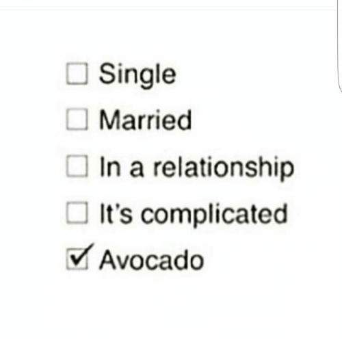 Relationships, Avocado, and Girl Memes: Single  Married  In a relationship  It's complicated  Avocado  V