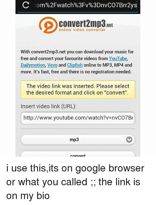 Click Google And Music Net Online Video Converter With Convert2mp3 You