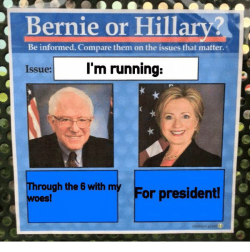 Twitter 696930930980712448 i'm running through the 6 with my woes! for president! bernie