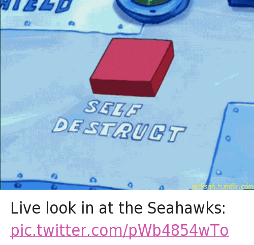Football, Meme, and Memes: @NFL_Memes  Live look in at the Seahawks:  self destruct Live look in at the Seahawks: