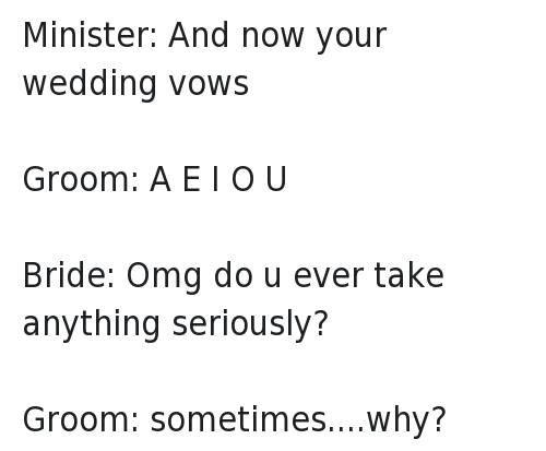 Funny Jokes And Marriage Minister Now Your Wedding Vows