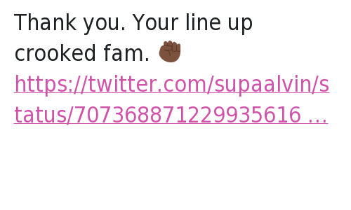 Thank you. Your line up crooked fam. ✊🏿: New Jack City was the best movie you ever did other than that you straight trash Thank you. Your line up crooked fam. ✊🏿