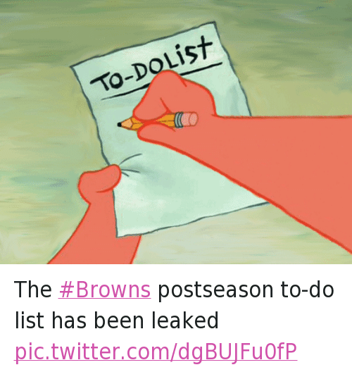 Twitter The Browns postseason to do list has 0ab848 to dolist the browns postseason to do list has been leaked