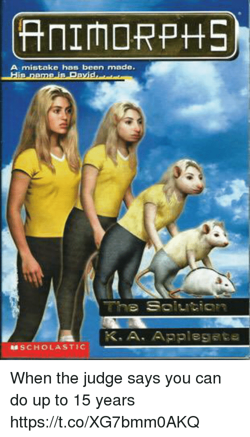 Animorphs, Crime, and Jail: When the judge says you can do up to 15 years  ANIMORPHS  A mistake has been made.  His name is David... When the judge says you can do up to 15 years
