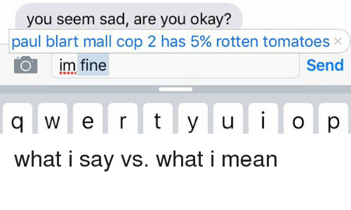 Lovely Funny, Mean, And Meaning: You Seem Sad, Are You Okay? Paul