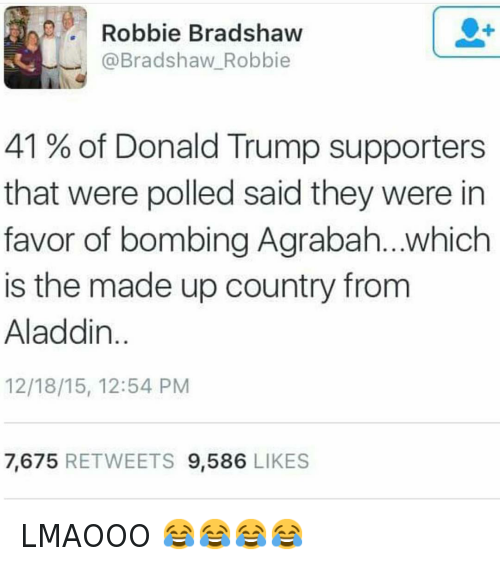 LMAOOO 😂😂😂😂: @hoodshiet  @Bradshaw Robbie  41% of Donald Trump supporters that were polled said they were in favor of bombing Agrabah...which is the made up country from Aladdin. LMAOOO 😂😂😂😂