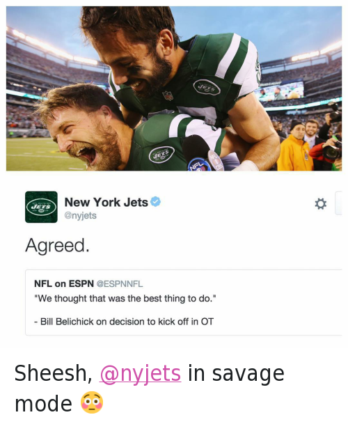 """Bill Belichick, CoinFlipGate, and Football: @bleacherreport  @nyjets  Agreed.   @ESPNNFL  """"We thought that was the best thing to do.""""  - Bill Belichick on decision to kick off in OT Sheesh, @nyjets in savage mode 😳"""