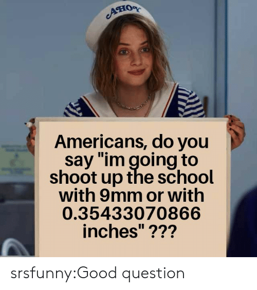 """School, Tumblr, and Blog: Aно  Americans, do you  say """"im going to  shoot up the school  with 9mm or with  0.35433070866  inches""""??? srsfunny:Good question"""