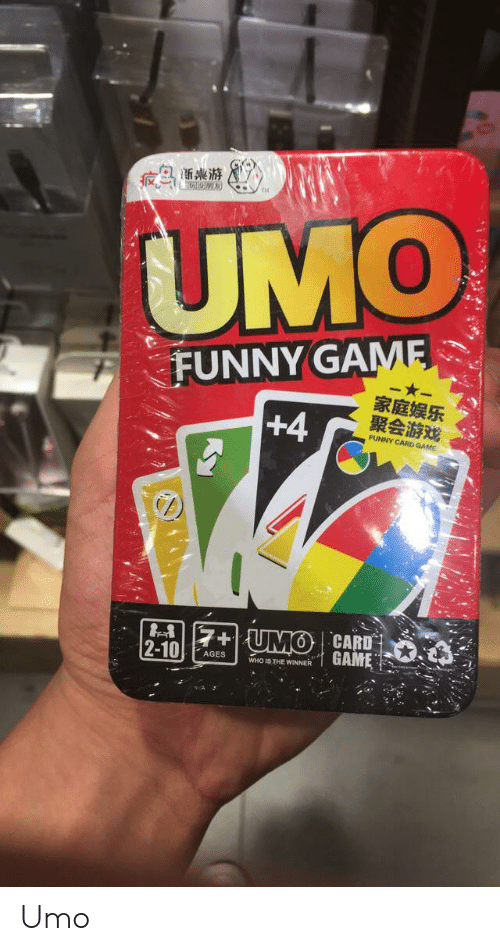 Funny, Game, and Who: A渐桌游  UMO  FUNNY GAME  -*-  家庭娱乐  聚会游戏  +4  FUNNY CARD GAME  7+ {UMO| CARD  2-10  GAME  AGES  WHO IS THE WINNER Umo