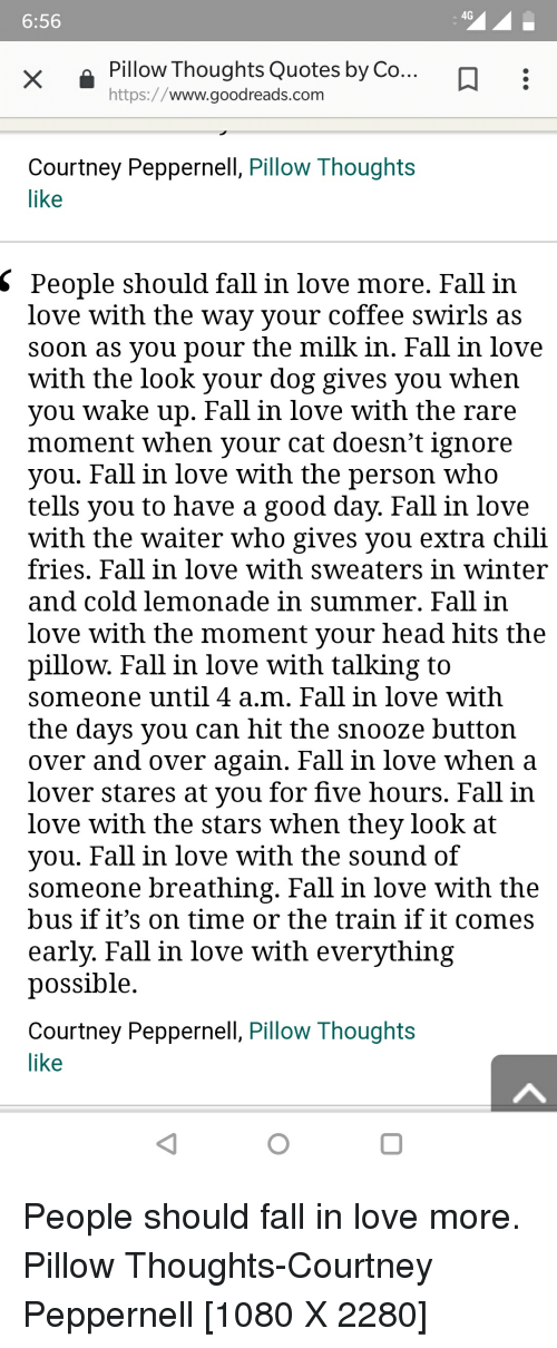 A 60G 60 Pillow Thoughts Quotes By Co Httpswwwgoodreadscom Courtney Unique Goodreads Quotes