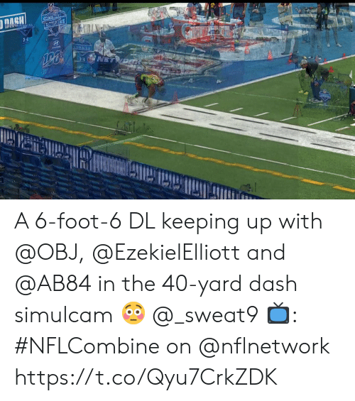 Memes, 🤖, and Dash: A 6-foot-6 DL keeping up with @OBJ, @EzekielElliott and @AB84 in the 40-yard dash simulcam 😳 @_sweat9  📺: #NFLCombine on @nflnetwork https://t.co/Qyu7CrkZDK