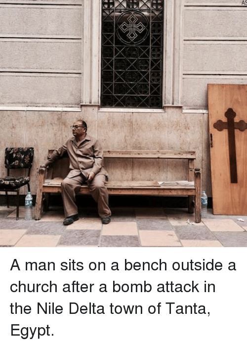Church, Memes, and Delta: A A man sits on a bench outside a church after a bomb attack in the Nile Delta town of Tanta, Egypt.