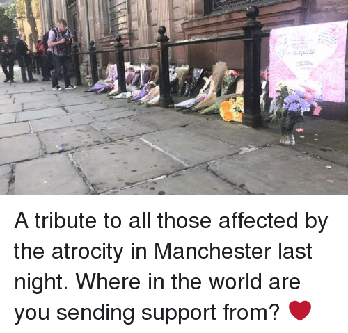 "Dank, World, and Manchester: ""a A tribute to all those affected by the atrocity in Manchester last night.   Where in the world are you sending support from? ❤️"
