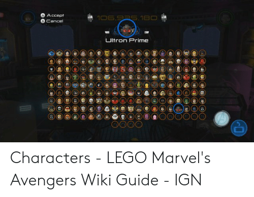 A Accept Cancel UItron Prime Characters - LEGO Marvel's