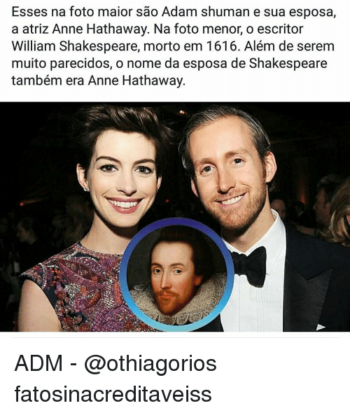 A Atriz Anne Hathaway Na Foto Menor O Escritor William